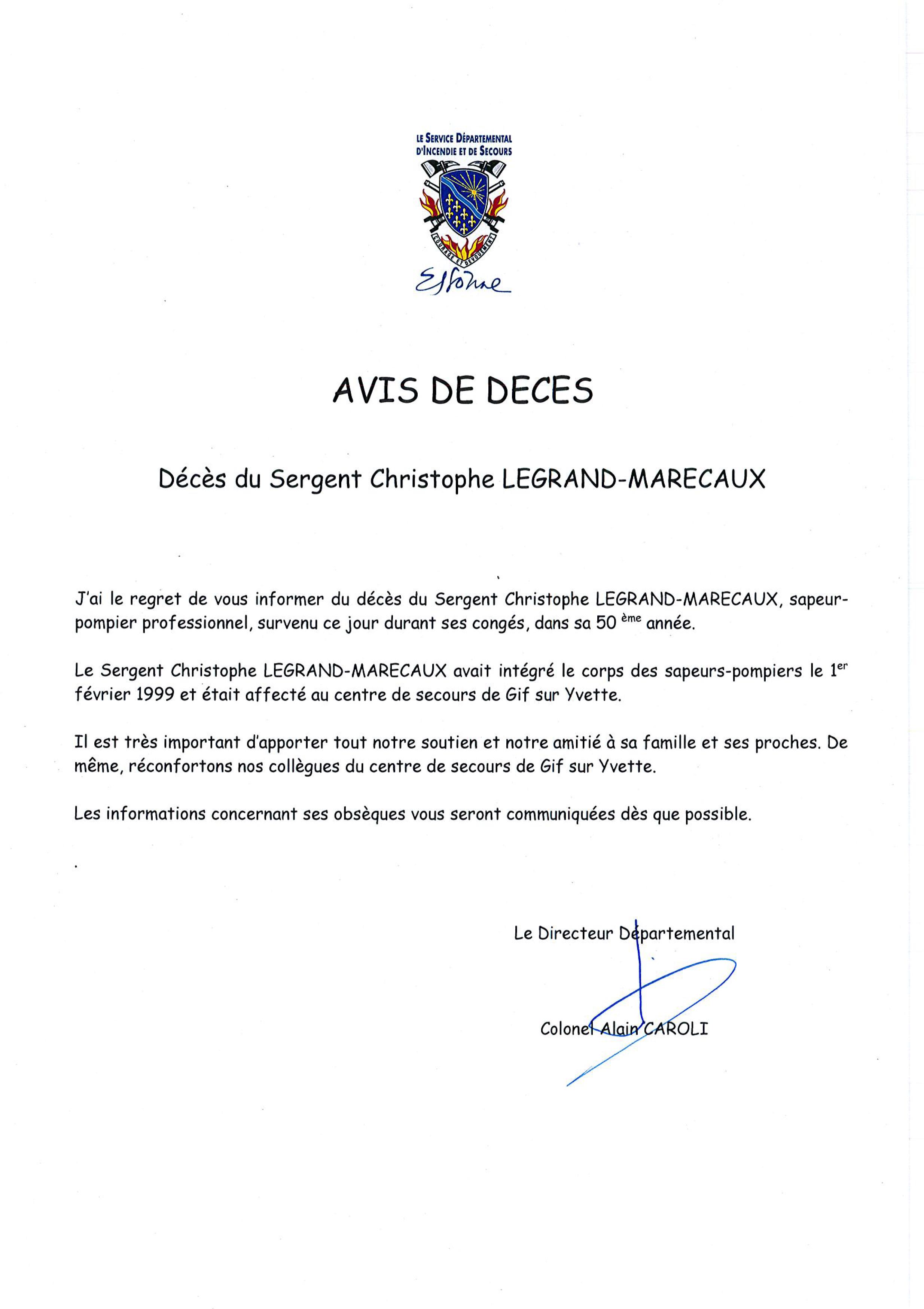Avis De Deces Aisne : d c s du sergent christophe legrand marecaux sapeur ~ Dailycaller-alerts.com Idées de Décoration